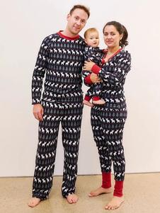 親子ペア クリスマス パジャマ クリスマス柄 家族お揃い ダークネイビー ポリエステル 着ぐるみ パジャマ 大人用 寝巻き