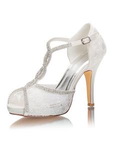 """Scarpe da sposa di lusso con plateau Peep Toe T-type Tacco a spillo 3.9 """"Scarpe da sposa"""
