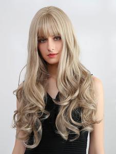 الباروكات الاصطناعية بني فاتح تجعيد الشعر كامل الحجم رايون شعر مستعار طويل عارضة