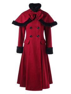 Рождество Пальто Для Женщин Красный Высокий Воротник Длинные Рукава Кнопки Двухцветная Ретро Обертывание Пальто