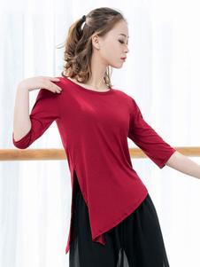 Mulheres modais irregulares da fenda superior uniforme da dança que dançam o desgaste do desempenho
