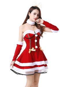 Vestido de Natal das mulheres Pom Pom Flare Dress Holidays Costumes