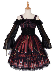 Gothic Lolita Dress OP scacchi Cat Ruffle fiocchi neri Lolita Dresses One Piece