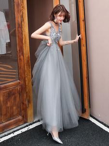 Prom Dress Scollo a V Una linea senza maniche Piano Lunghezza abiti da sposa del cliente