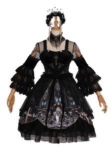 Lolita gótico vestido OP babados em cascata arcos esqueleto preto mangas compridas Lolita vestidos de uma peça