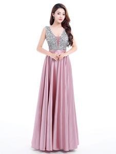 Пром платье с V-образным вырезом без рукавов длиной до пола, атласное тюль, бисерное платье