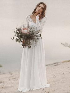 Vestido de novia simple Una línea de cuello en V Manga larga Hasta el suelo Gasa Encaje Vestidos de novia de playa