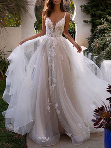 فساتين زفاف ألف خط الخامس الرقبة بلا أكمام الرباط أثواب الزفاف appliqued مع قطار
