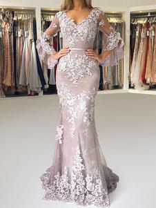 Вечернее платье Русалка V шея с длинными рукавами молния кружева атласная ткань Вечерние платья с шлейфом