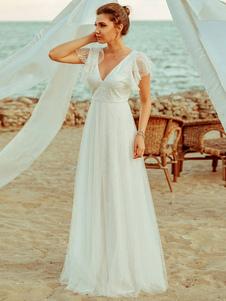 Simples vestido de noiva 2020 A Lne decote em V manga curta até o chão tule vestidos de festa de casamento de praia vestidos de noiva