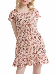 فستان الصيف جوهرة الرقبة مطبوعة الرباط حتى الكتف المفتوحة الأزرق طول الركبة فستان الشاطئ