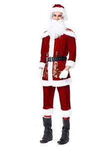 Homens Natal Conjunto Traje Papai Noel Trajes Feriados Vermelhos