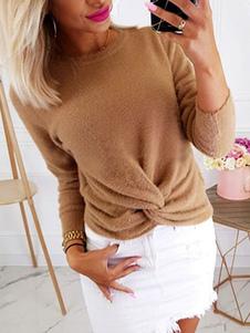 Пуловеры для женщин Camel Knotted Jewel Neck с длинными рукавами завязанные велюровые свитера