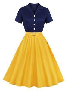 Vestido vintage dos anos 50 Botões da mulher amarela Mangas curtas Colar de abertura de cama Vestido Rockabilly