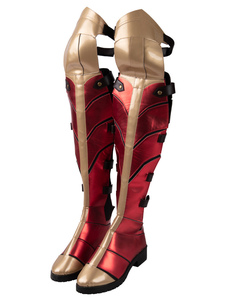 Carnaval Wonder Woman Cosplay Ture Rojo PU Cuero Cosplay Zapatos