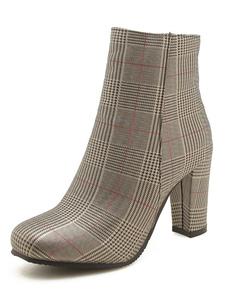 """Mulheres Ankle Boots Verifique Padrão Toe quadrado 3.3 """"Block Heel Booties"""