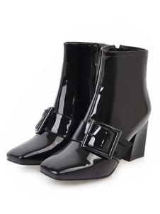"""Mulheres Couro envernizado Toe quadrado 2.8 """"bloco botas de tornozelo"""