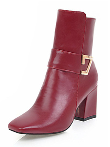 "Stivaletti da donna con punta quadrata Chunky Heel 2.8 ""Booties"