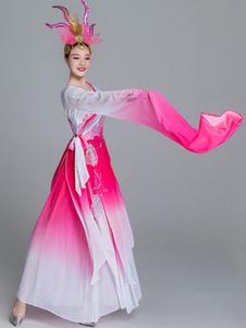 Trajes chineses tradicionais vestido de chiffon asiático trajes de carnaval agradável
