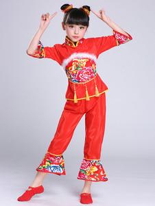Детские китайские костюмы Красный пион Цветочный наряд Карнавальные костюмы