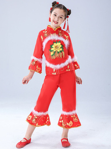 Trajes chineses da criança Trajes de dança flor vermelha Top com roupa de calças
