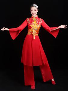 Trajes chineses Traje de Dança do Dragão Vermelho Trajes de Carnaval Roupa de 2 Peças