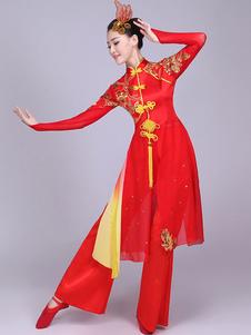 Trajes chineses tradicionais trajes de dança de terno de Kung Fu Tang vermelho