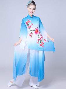 Trajes chineses mulheres roupa asiática azul feriados trajes de carnaval
