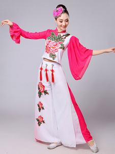 Trajes chineses Trajes de dança de carnaval agradável Roupa de flor de peônia