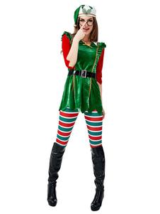 Conjunto Natal Mulheres Tema Natal Trajes Elf Tarja Férias
