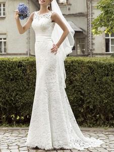 Vestidos de novia sencillos de silueta sirena Vestidos de novia Marfil sin mangas cintura natural con faja de encaje con escote redondo