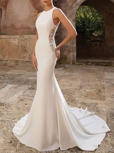 Vestidos de novia sencillos de silueta sirena Vestidos de novia Marfil sin mangas cintura natural de encaje de elastano de marca LYCRA