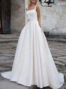 Vestidos de novia sencillos de línea A sin mangas Vestidos de novia Boda Marfil con escote cuadrado cintura natural con faja Tela Satén