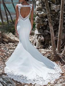 Свадебное платье 2020 Mermaid Lace Jewel Neck без рукавов назад выдалбливают свадебные платья с шлейфом