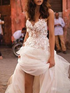 Свадебные платья 2020 A Line без рукавов длиной до пола, бисером Милая шея Свадебные платья