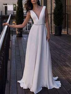 Vestidos de novia sencillos de línea A Vestidos de novia Blanco Boda sin mangas cintura natural con faja Tela Satén con cuello en V Sin espalda