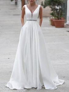 Vestidos de novia sencillos de línea A sin mangas Vestidos de novia Boda Blanco con cuello en V cintura natural con faja Tela Satén Sin espalda