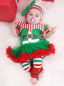 Kid Christmas Dress Red Tulle Ruffle Skater Dress Cotton Christmas Costumes Costumes