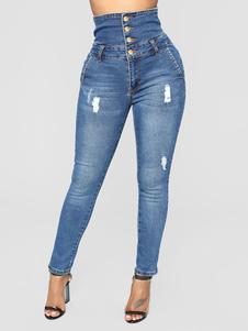 جينز للمرأة أزياء مدبب صالح الدينيم