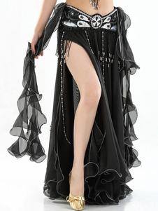 Dança do ventre saia longa plissado alta fenda plissada mulheres dançando desgaste