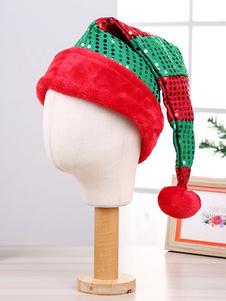 Sequin Christmas Hat Color Block Pom Pom Party Ornament