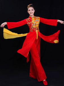 Trajes chineses vermelhos trajes bordados dos feriados do festival da mola da borla