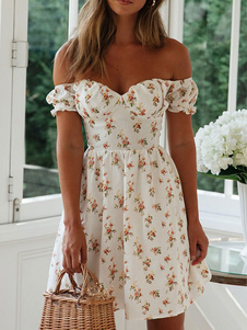 Vestido Boho Cuello Bateau Manga Corta Vestido Estampado Floral Sin Respaldo Verano