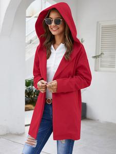 Пальто женское Пальто с капюшоном Повседневная свободная красная куртка макси