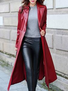 Пальто для женщины отложным воротником повседневная красное зимнее пальто