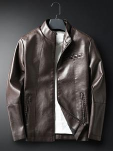 Мужская классическая кожаная куртка на весну