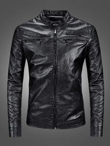 Мужские кожаные куртки с деталями на молнии