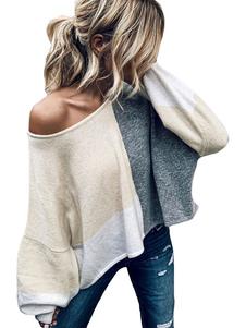 Felpa oversize donna manica lunga color block top
