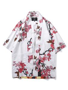 Disfraz Carnaval Japanes trajes de kimono blanco de poliéster de fibra Top modelo oriental Top Trajes de fiestas de adultos Carnaval