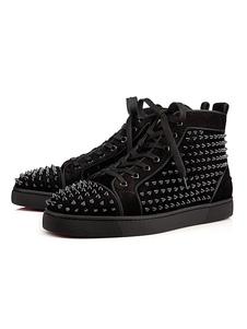 Zapatillas altas de tachuelas remachadas para hombre Zapatos de skate de punta redonda de cuero de gamuza